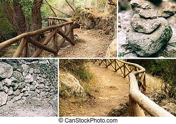 spur, zen, hölzern, fressen, stein, freizeit, collage, walk., haufen , mini, rest, fechten, aus, tag, wand, sicherheit, gebirgspfad, steine