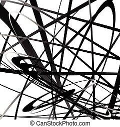 squiggly, geometrisch, lines., monochrom, curvy, abstrakt, schnörkel, pattern.