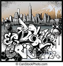 städtischer graffiti, elemente, kunst