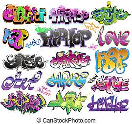 städtischer graffiti, vektor, kunst, satz