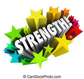 stärke, wort, fähigkeit, vorteil, konkurrenzfähig, sternen, starke