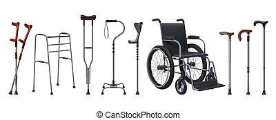 stöcke, stützen, personen, personal, canes., verletzung, medizin, patients., realistisch, musculoskeletal, gehen, vorräte, crutches., 3d, rollstühle, rehabilitation, set., vektor, behindertes