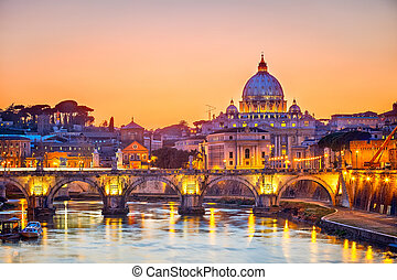 St. Peter's Kathedrale in der Nacht, Rom