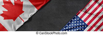 staaten, flaggen, kanada, vereint, raum, amerika, kopie