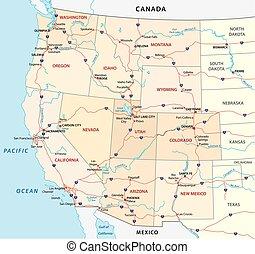 staaten, landkarte, vereint, westlich