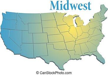 staaten, uns, westen, mittler, landkarte, regional