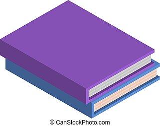 Stack von Schulbuch Ikone, isometrische Stil