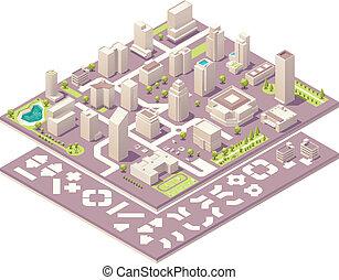 stadt, isometrisch, schöpfung, landkarte, satz