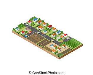 stadt, klein, isometrisch, landschaftsbild