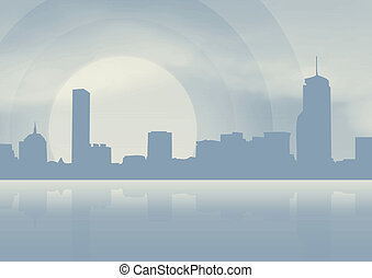 Stadt mit blauem Hintergrund