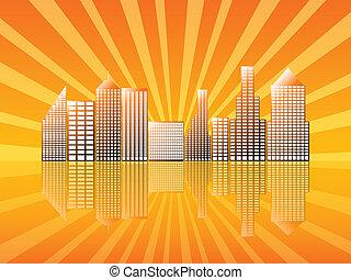 Stadt mit Spiegel-Orange