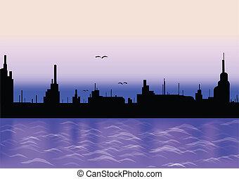 Stadt mit Spiegelbild. Vector