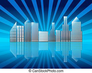 Stadt mit Spiegelei