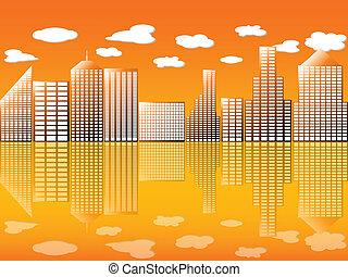 Stadt mit Spiegelung Orange 2