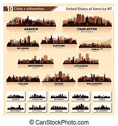 stadt skyline, set., 10, silhouetten, usa, #7