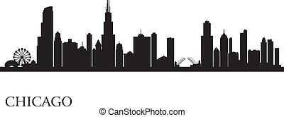 stadt skyline, silhouette, hintergrund, chicago