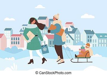 stadt, städtische landschaft, weihnachten, winter, familie, spaziergang, leute