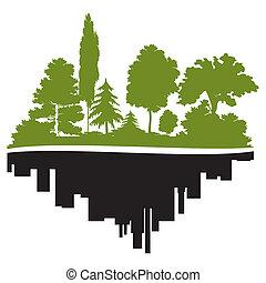 Stadt und Wald