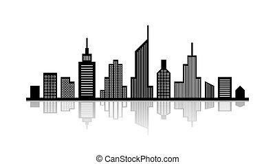 Stadtbild mit Reflexion