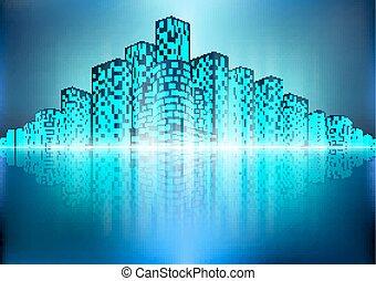 Stadtlandschaft mit Reflexion.