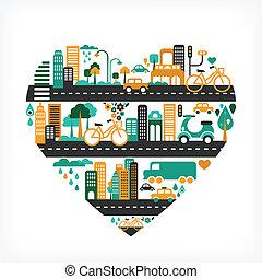 Stadtliebe - Herzform mit vielen Ikonen