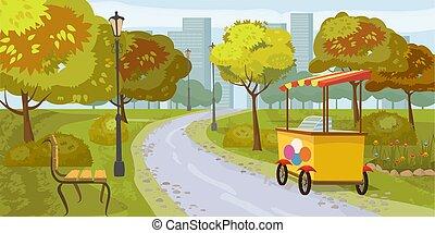 Stadtpark, Bäume, Weg führt zur Stadt, Bank, Stall mit Eis, in den Hinterstadt Häusern, Vektor, Cartoon Stil, Illustration, isoliert.