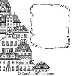 Stadtskizze, Häuser Hintergrund für Ihr Design.