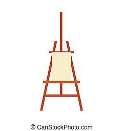 staffelei, leer, kunst, ausrüstung, gemälde, hintergrund, weißes, freigestellt, -, künstler