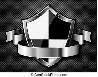 Stahlschild mit Schleifen