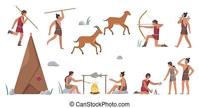 stammesangehörige, kochen, satz, ursprünglich, stamm, tiere, gruppe, jagen, primitiv, lebensmittel, leute, jagd