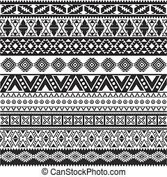 Stammesnadelloses Muster - aztekisch schwarz-weißer Hintergrund