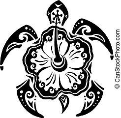 Stammestätowierungsschildkröte und Blumen-Hibiskus