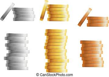 Stapel aus Gold, Silber und Bronze.