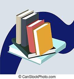 Stapel Bücher, 3D isometrische