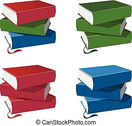 Stapel Bücher, isoliert auf weißem Hintergrund.