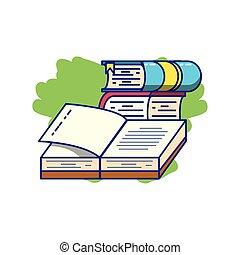 Stapel Bücher liefern isolierte Ikonen