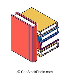 stapel, design, buecher, akademisch, bunte, ikone