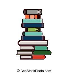 Stapel von Büchern über das weiße Hintergrund isolierte Icon.
