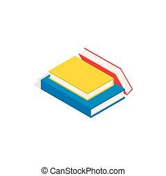 Stapel von Büchern Icon, isometrische 3D-Stil.