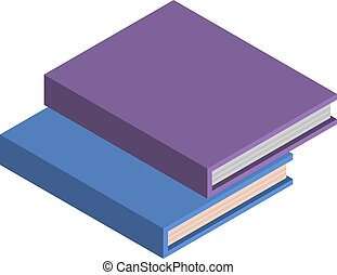 Stapel von Schulbüchern Ikonen, isometrischen Stil