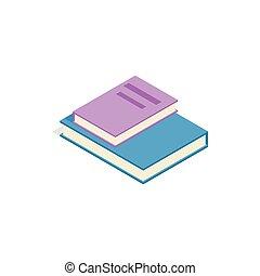 Stapel von zwei Büchern Ikone, isometrische 3d Stil.