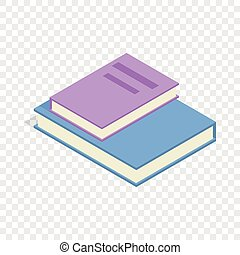 Stapel von zwei Büchern isometrische Ikone.