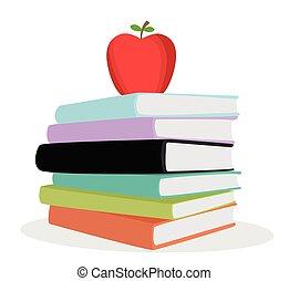 Stapelfarbene Bücher.