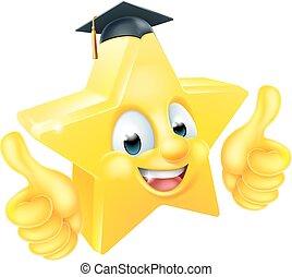 Star Graduierung Emoji Emoticon Maskottchen.