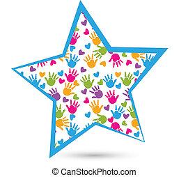 Star mit Kinderhand-Logo.