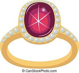 Star Rubin goldener Ring.