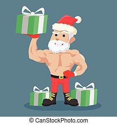 Starke Weihnachtsmann-Klausel mit Geschenk.