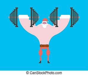 Starker Weihnachtsmann und Dummköpfe. Weihnachtsfitness. Dumbbell steht. Mächtiger alter Mann. Sport-neues Jahr vektorgrafik