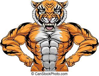 Starkes Tigersportmaskottchen.
