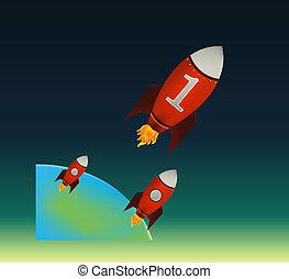 Starte rote Raketen